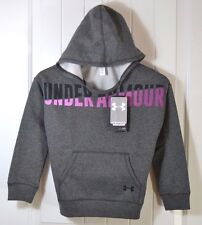 NWT GIRLS YOUTH UNDER ARMOUR COLDGEAR GRAY FLEECE HOODIE JACKET COAT YSMALL