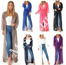 WOMENS LADIES CHIFFON SHEER MESH BELTED MAXI LONG CARDIGAN KIMONO PLUS SIZE 8-22