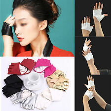Fashion Half Finger PU Leather Gloves Ladies Fingerless Driving Show Gloves