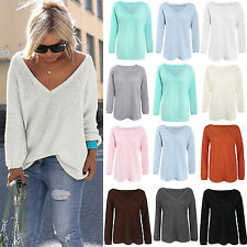 Womens Long Sleeve Knitted Sweater Pullover Jumper Tops Kintwear Blouse Plain