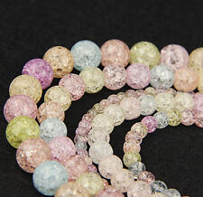 8MM 30pcs Loose Round Bead Crackle Art Crystal Glass Beads DIY Jewelry Makings
