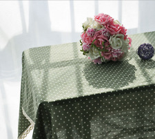 Elegant Green White Dots  Coffee Table Cotton Linen Cloth Cover oAUr