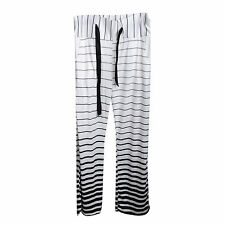 Women's Striped Casual Stretch Yoga Pants Wide Leg Long Loose Palazzo Trousers