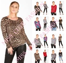 NEW WOMENS LADIES CASUAL BASIC ANIMAL LEOPARD PRINT LONG SLEEVE TOP T SHIRT 8-16