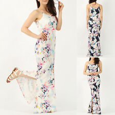 NEW WOMENS LADIES SLEEVELESS DOUBLE SPLIT SIDE FLORAL PRINT LONG CAMI MAXI DRESS