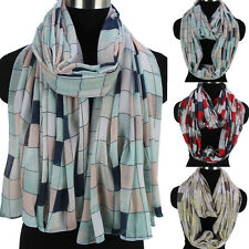Fashion Womens Colorful Squares Pattern Long Scarf Wrap Shawl/Infinity Scarf New