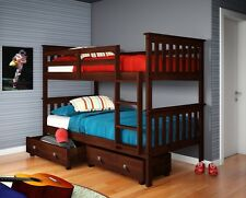 TWIN OVER TWIN BUNK BED W/ DRAWERS OR TENT OPTION - CAPPUCCINO