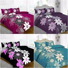 NEW DESIGN LYNDA FLORAL BLACK LILAC RED DUVET QUILT COVER BEDDING PILLOWCASE SET
