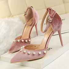 Pearl High Heels Shoes Party Wedding Women Pumps Heels Pointed Toe Dress Shoes