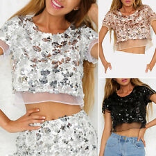 Women's Casual Sexy Short sleeve Sequined bare midriff Crop Top Tops Shirts S-L