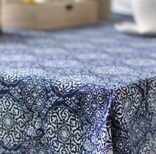 Japanese Blue Floral Home Bar Coffee Table Cotton Linen Cloth Cover oUSr