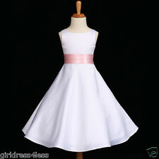 WHITE/BABY PINK A-LINE WEEDDING FLOWER GIRL DRESS 12M 18M 2 4 5/6 8 10 12 14 16