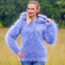 ♕ SUPERTANYA ♕ fuzzy hand knitted mohair sweater handmade blue hoodie jumper