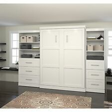 Bestar Pur Murphy Wall Bed with Two 3-Drawer Attached Storage Units