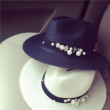 Summer Women Flower Beads Wide Brimmed Panama Chapeu Visor Beach Hat Cappello