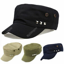 Fashion Plain Vintage Army Military Cadet Style Cotton Cap Hat Adjustable New  X