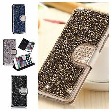 Bling Crystal Diamond Leather Flip Wallet Cover Case For Apple iPhone Models