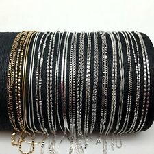 """Wholesale Pack of 100pcs Plated Silver Jewelry Necklaces Chains 16""""-30"""""""