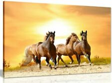 Running Wild Horses Sunset Canvas Wall Art Picture Print