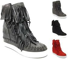 WOMENS LADIES HIGH HEEL LACE UP  WEDGE HI HIGH TRAINER ANKLE BOOTS BOOTIES SIZE
