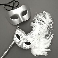 Metallic Silver Masquerade & Venetian Feather Stick Prom Costume Party Masks