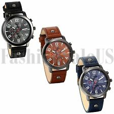 Men's Date Analog Dial Quartz movement Army Infantry Leather Band Sports Watch
