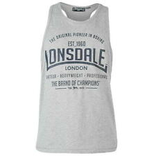 MENS GREY MARL LONSDALE BOXING GYM RUNNING VEST TOPS SIZE ES-4XL