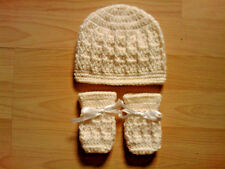Handmade Crocheted Baby Unisex Cable Hat with Mitts Various Colours 100% Acrylic