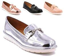 WOMENS LADIES LOAFERS FLAT CASUAL OFFICE WORK SCHOOL SLIP ON PUMPS SHOES
