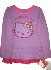 Girls Hello Kitty T-Shirt Polka Dot Glitter Long Sleeve Purple Pink NWT Sz 4/5/6