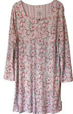 Karen Neuburger Nightgown Floral Scroll Long Slv Red Gray Black NWT Womens M/L