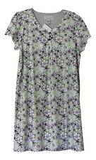 Karen Neuburger Nightgown Floral Swirl S/Slv Gray Green Black NWT Womens Small