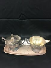 Derby S P  CO  silver plate Sugar Lid  Creamer Tray VINTAGE  MCM WM Mounts