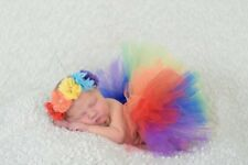 Newborn Baby Girls Boy Rainbow Tutu Dress Headband Photo Photography Prop Outfit