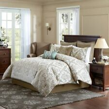 Luxury 8pc Brown & Ivory Paisley Medallion Comforter Set AND Decorative Pillows