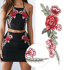 2pcs Rose Flower Embroidery Sew Iron On Patches Dress Badge Applique Craft DIY