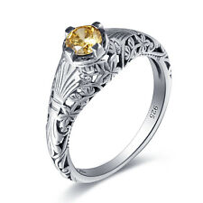 925 sterling silver ring  Fine Jewelry Gift Victorian style Yellow Topaz  rings