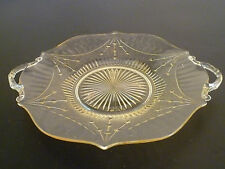 vintage pressed glass serving plate 1920's 1930's yellow