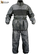 Xelement Men's 2 Piece Gray and Black Motorcycle Rainsuit
