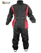 Xelement Mens 2 Piece Black and Red Motorcycle Rainsuit With Boot Strap