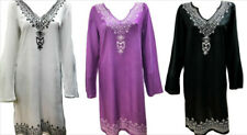 PLUS SIZE HIPPIE BOHO SUMMER FESTIVAL EMBROIDERED NECKLINE AND HEM TUNIC DRESS