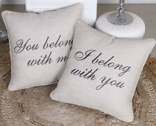 Pillow Cover I Belong Set of 2 Throw Cushion Embroidered Pillow case Decorative