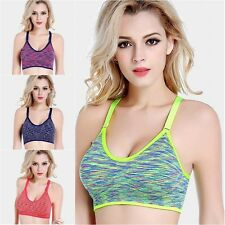 Women Yoga Fitness Workout Seamless Tank Top Stretch Padded Racerback Sports Bra