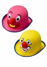 Pink / Yellow Felt Clown Bowler Hat for Circus Fancy Dress Accessory