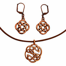 Celtic Open Knot Charm Necklace & Earring Set, Antique Copper Brown Leather