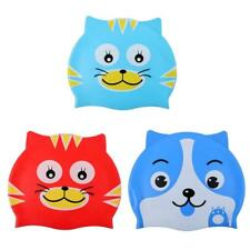 Children Kids Silicone Stretchy Cute Cartoon Cat Puppy Bathing Cap Swim Hat