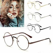 Unisex Big Round Metal Clear lens Vintage Retro Geek Fashion Glasses Frame