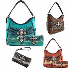 Justin West Laser Weaved Leather Pastel Western Cross Tote Conceal Carry Purse