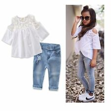 Toddler Kids Baby Girls T-shirt Tops+Denim Pants Trousers Summer Outfits Sets
