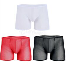 New Men's Summer Sheer Mesh Boxer Briefs Trunks Pop See Through Underwear Shorts